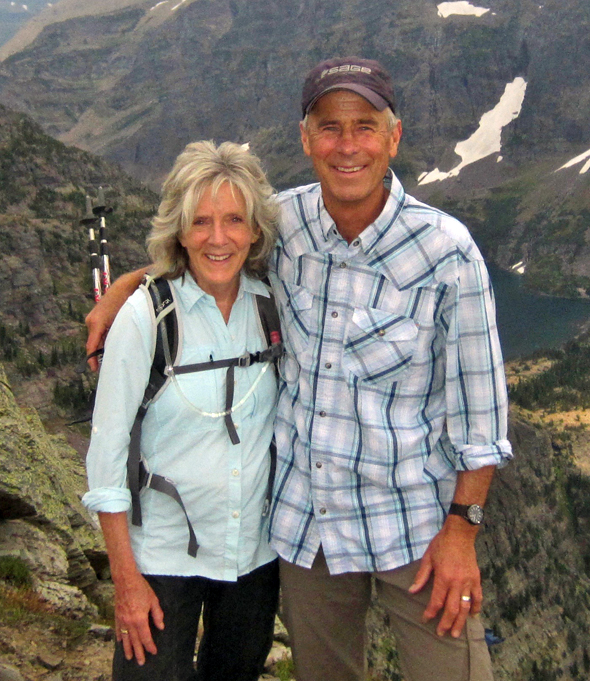 Steve and Sue Rolfing hiking in Glacier National Park
